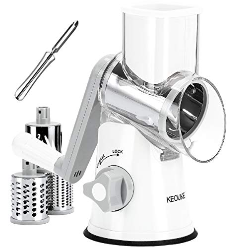 KEOUKE Vegetable Cheese Grater Slicer  Rotary Handheld Grater Shredder Grinder with a Stainless Steel Peeler White