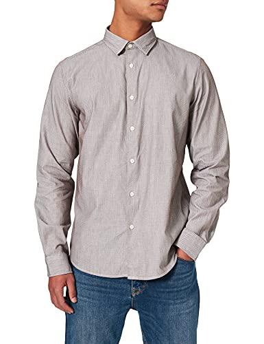 Springfield Camisa Estructura, Marron Medio, M para Hombre