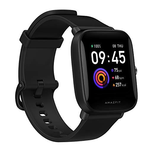 Amazfit Bip U Smartwatch Fitness Reloj Inteligente 60+ Modos Deportivos 1.43' Pantalla táctil a Color Grande 5 ATM GPS Incorporado (SpO2) Oxígeno en Sangre Frecuencia cardíaca-Negro