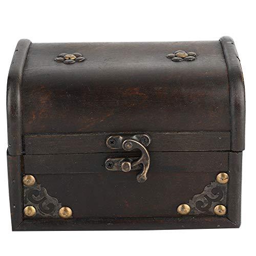TANKE Caja de Almacenamiento Caja de Almacenamiento de Madera Escritorio de Madera Hecho a Mano Soporte de joyería Vintage Caja de Almacenamiento Decoración de utilería ()