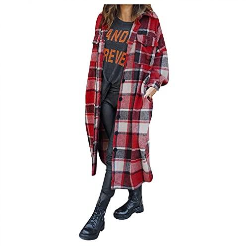 CHANGESHOPPING WOMENS 패션 OUTWEAR 격자 무늬 인쇄 긴 소매 옷깃 롱 재킷 트렌치 코트