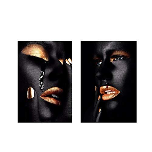 HYFBH Pintura al óleo de Sangre de Mujer Africana Negra y Dorada sobre Lienzo Carteles e Impresiones Cuadro de Pared para Sala de Estar Decoración enmarcada-50x70cm con Marco