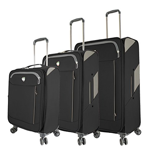Mia Toro M1133-03pc-blk Italy Viareggio Softside Spinner Luggage 3pc Set, Black