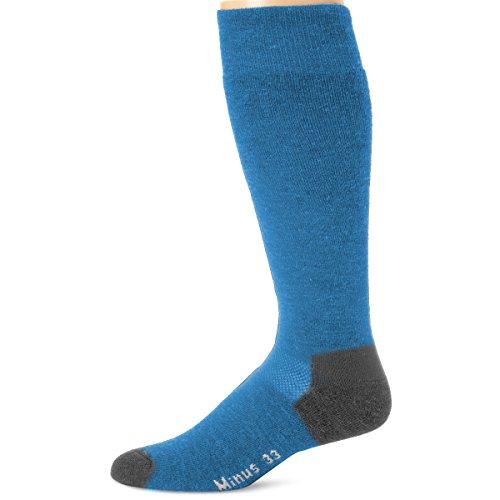 Minus33 Merino Wool Ski and Snowboard Sock Azure Blue Medium