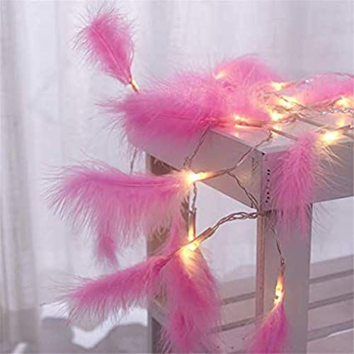 DEDC 9.8 Ft 20 LED Feather String Lights Feathers Garland Battery Operate Fairy String Lights Hanging for Wedding Party Home Wall Decor Decoration (Pink Feathers)