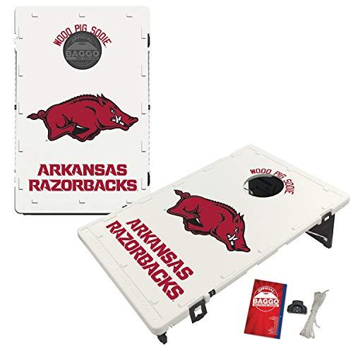 Victory Tailgate Baggo All-Weather Cornhole Boards Set, NCAA Classic with Matching Corn-Filled Bags - Arkansas Razorbacks