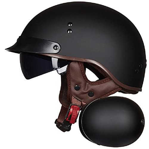 ZPTTBD Casco Moto Hombre Mujer ECE Homologado Cascos Moto Half Helmet con Visera Retro Casco Moto Scooter Jet Abierto para Mofa Crash (Color : I, Size : (M/57-58CM))