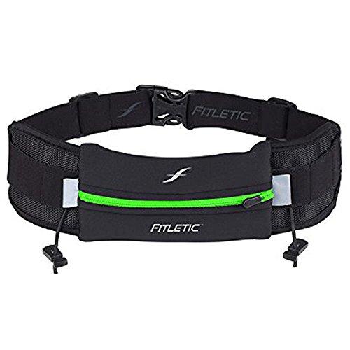 Cinto de corrida Fitletic   Bolsa patenteada sem saltos para Homem de Ferro, Triatlon, Maratona, Trilha, 5K, 10K, Resistência, Ciclismo   Cinto de corrida N06 'Ultimate I', Green & Black, One Size Fits All