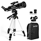 Intey Telescopio - 400 mm de Longitud de Enfoque y 70 mm de Apertura, 2 Piezas de Ojo telescopio con trípode Ajustable y Lente giratoria, Funcionamiento Flexible para Principiantes y Adolescentes