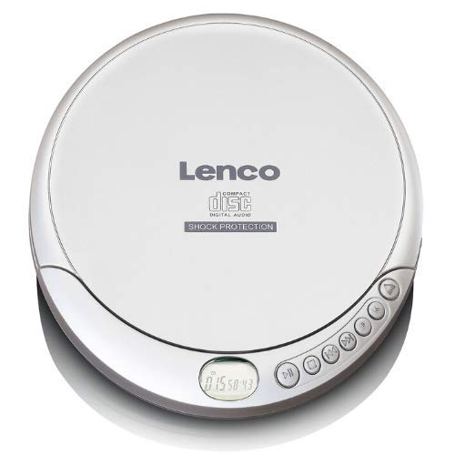 Lenco CD-201 - Tragbarer CD-Player Walkman - Diskman - CD Walkman - MP3 Funktion - Antishock - Mit Kopfhörern und Mikro USB Ladekabel - Silber