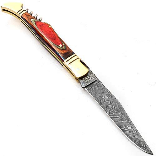 PAL 2000 Cuchillo Plegable, Navaja de Bolsillo, Cuchillo Hecho a Mano Personalizado, Cuchillo de Acero de Hoja de Damasco, con Funda de Cuero, Cuchillo Hecho a Mano, Cuchillo Forjado a Mano SNSA-9790