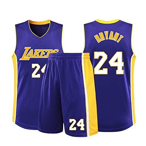 SYXBB-Lampe Basketball T-Shirt NBA Lakers 24# Kobe Bryant Trikots, Herren Frau Basketball Uniform Klassisches Jerseys Top,Lila,L