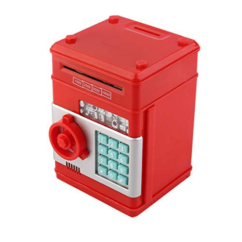 7Colors Elektronische geldcassette voor kinderen, voor munten en bankbiljetten, sleutelcode, kassasysteem, geldcassette, rood