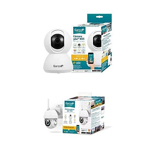 Garza Smarthome - Pack Cámaras de Vigilancia Interior y Exterior Inteligente WiFi 360°, Visión Nocturna, Detección De Movimiento, Audio Bidireccional, Control Remoto a través de App