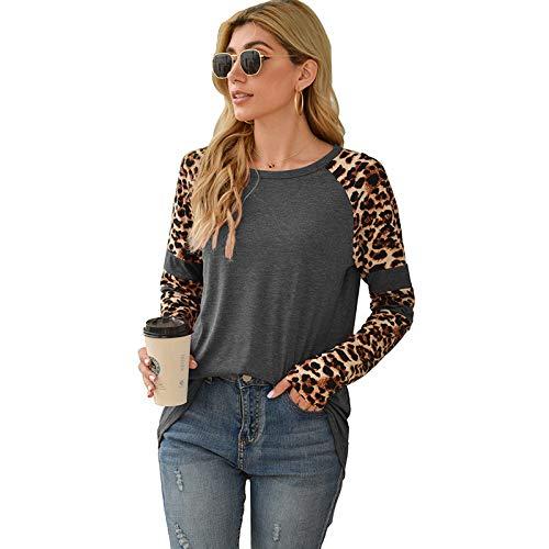 Camiseta de Cuello Redondo con Costura de Estampado de Leopardo de Manga Larga de Primavera para Mujer Top...