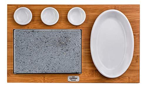 Placa de piedra volcánica americana rectangular apta para cocinar directamente a la mesa.