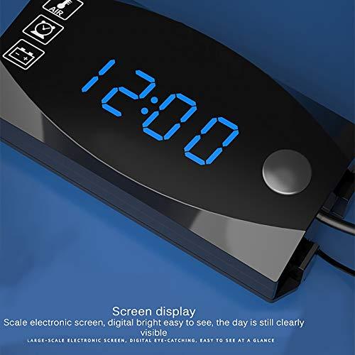 Voltímetro - Reloj termómetro 3 en 1 digital LED, contador de 12 V, indicador multifuncional portátil, contador de panel contador adecuado para coches y motocicletas de exterior (azul)