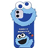 MC Fashion iPhone 11 Case, Cute 3D Cartoon Sesame Street Case for Girls Boys Women Men, Slim Fit Full-Body Protective Soft Silicone Cover for iPhone 11 6.1 inch 2019 (Blue_Cookie Monster)