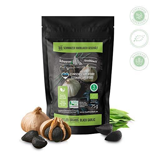 Bio geschälter schwarzer Knoblauch - vegan, fermentiert, hochdosiert, zertifiziert natürlich - fermented eco-friendly black garlic - hergestellt in Skandinavien