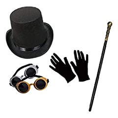 ★ Amazing Steampunk style Halloween fancy dress set ★ Set includes a top hat, pair of goggles, cane & short black gloves ★ All items are of high quality and one-size-fits-all adults. ★ Plastic cane measures 80cm. ★ ★ Please note: goggle colour may va...