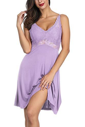 Zexxxy Nachthemd mit Spagettiträgern Frauen Schlafkleid Baumwolle Kurz Nachtkleid Push Up Lila S