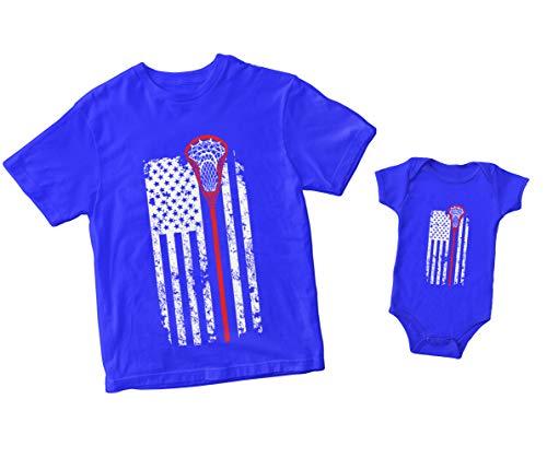 Lacrosse Stick American Flag Bodysuit (12 Months, Royal Blue)