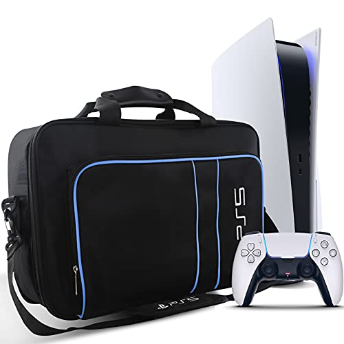 PS5 Carrying Case, PS5 Travel Bag Storage for PS5 Console Disc/Digital Edition and Controllers, Protective PS5 Shoulder Bag for Playstation 5, Controllers, PS5 Game Cards, HDMI and Accessories Case