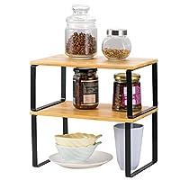 NEX 竹製 キッチンキャビネット カウンターシェルフオーガナイザー 積み重ね可能 拡張可能
