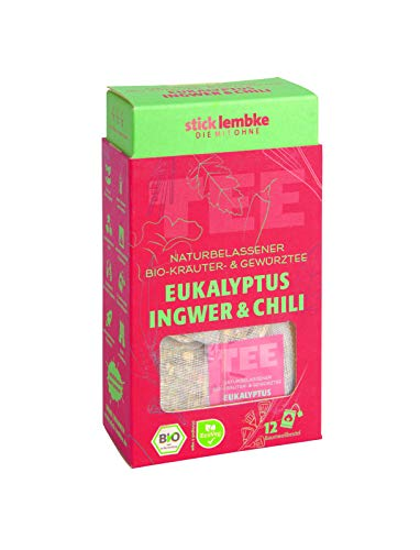Naturbelassener Bio-Kräuter- & Gewürztee Eukalyptus, Ingwer & Chili 12 x 2,5 g Bio
