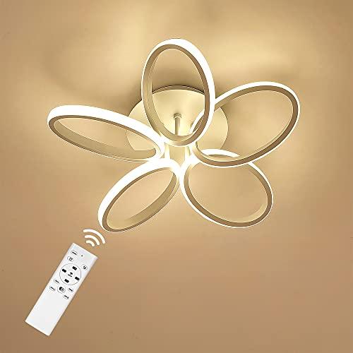Anten Lámpara de Techo Salon, Diseño 5 Anillos Lampara Techo Led Moderna 30W 3000LM Regulable Blanco Cálido a Frío para Sala de Estar, Dormitorio, Comedor