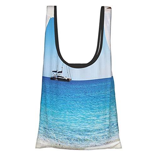 Decoración balinesa playa a través de una cama balinesa verano sol claro cielo luna de miel natural spa imagen azul blanco reutilizable bolsas de comestibles, bolsa de compras ecológica