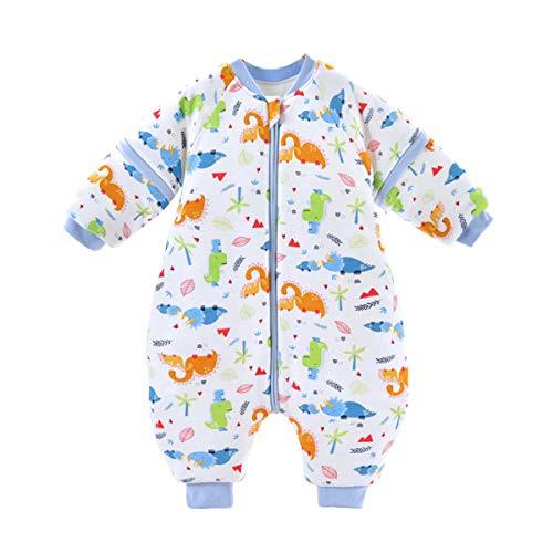 Baby Schlafsack mit Füßen Winterschlafsack 3.5Tog Jungen Mädchen Strampler Abnehmbare Ärmel Baumwolle Reißverschluss Beine Warmer Schlafanzug Kinder 0-1.5 Jahre,Weiß