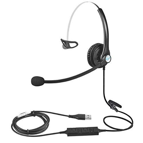 QiKun-Home A16 Cuffie per Telefono Cuffie per Rumore da Call Center con Volume del Microfono Cuffie per Traffico Regolabile con cancellazione del Rumore Chiamate Nere