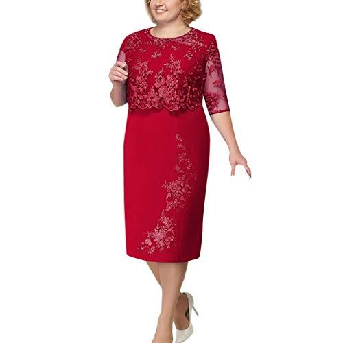 Dicomi Kleider Damen Übergröße Spitze Elegante Mutter Der Braut Knielangen Kleid
