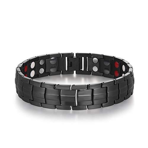 YKSO Pulsera de acero inoxidable con imán de doble fila para hombre, ajustable, hermosa pulsera magnética para cumpleaños de hombre