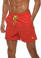 Gopune メンズ サーフパンツ 水着 海パン ビーチパンツ ハーフパンツ 大きいサイズ ショートパンツ 通気 速乾 (オレンジ 2L)