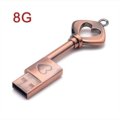 Peanutaoc Draagbare Creatieve Unieke Koperen Sleutelvorm USB2.0 Interface Stick Mini USB Flash Drive met Hangende Ring Duim Stick