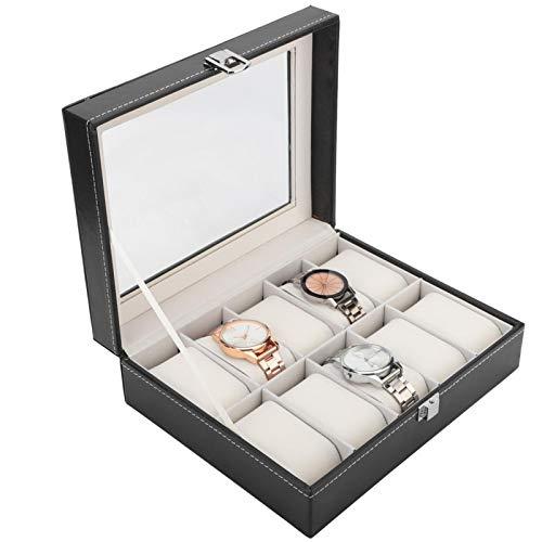 Caja de la joyería, caja de reloj de la guarnición de la franela negra de escritorio del cuero de la PU de 10 ranuras para la exhibición