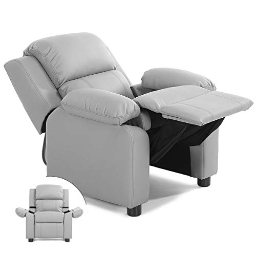 Costzon Kids Sofa Recliner, Children PU Leather Armchair W/Front Footrest, Flip-up Storage Arms, Padded Backrest, Ergonomic Contemporary Sofa for Toddler Boys Girls, Lightweight Sofa Chair (Gray)