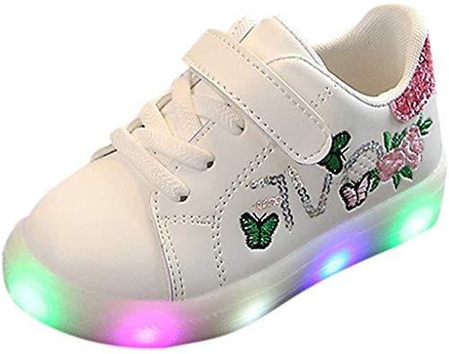 TMKMO Blinkende Kinderschuhe Kleinkind Turnschuhe Star Leuchtend Schuhe Mode Baby Schuhe mit Leuchtsohle Kinder Beiläufig Bunt Lauflernschuhe PU-Leder Mit RGB LED Licht