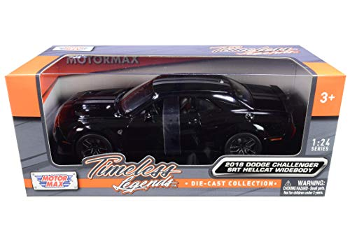 2018 Dodge Challenger SRT Hellcat Widebody Black with Silver Stripes 1/24 Diecast Model Car by Motormax 79350