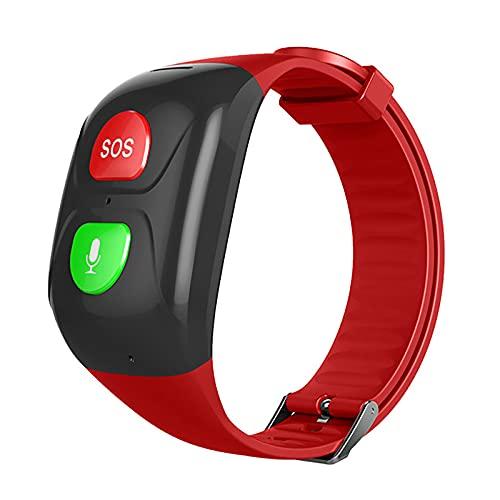 WBias&Belief Impermeable GPS pulsera Tracker Big Sos Button 24 horas en tiempo real Tracker Auto Dialer Emergencia Llamador Cuidado de ancianos Regalo de los padres, Rojo