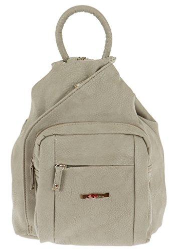 ALESSANDRO Femme Bag Handtasche Rucksack Damentasche + Schlüßelmäppchen (TIRANO Beige 6)