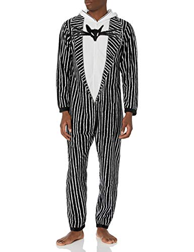 Disney Men's The Nightmare Before Christmas Hooded One Piece Pajama, Jack Skellington Suit, Small