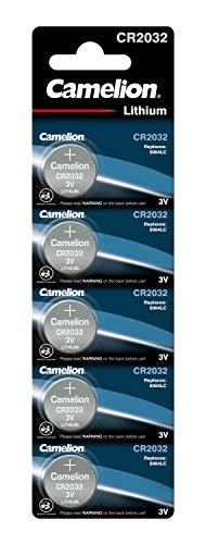 Camelion 13005032 - Lithium Knopfzellen-Batterie CR2032 mit 3 Volt, 5er Set, Kapazität 210 mAh, für verschiedenste Geräte- und Verbraucheranforderungen