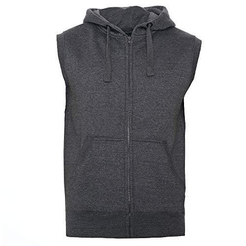 ROCK-IT Apparel® Zipped Hoodie ärmellos für Herren Sleeveless Fitness Kapuzenpullover Männer Sweater Trainingsweste Sweatshirt Tank Top S-4XL, Dunkegrau, S