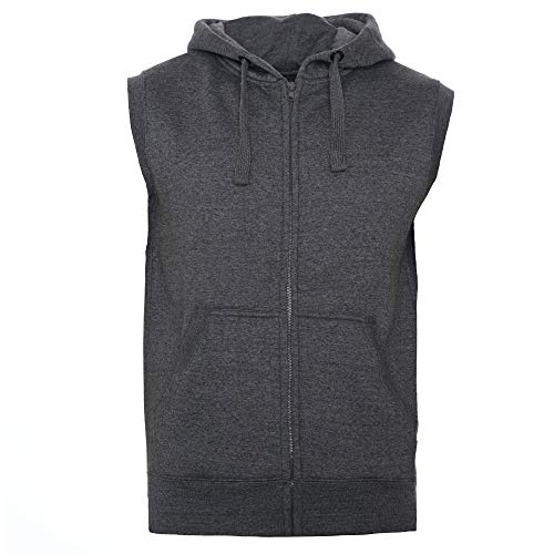ROCK-IT Apparel® Zipped Hoodie ärmellos für Herren Sleeveless Fitness Kapuzenpullover Männer Sweater Trainingsweste Sweatshirt Tank Top S-4XL, Dunkegrau, S