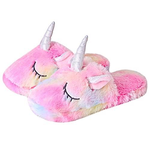 Unisexe Mesdames Enfants Filles 3D Nouveauté Animal Rainbow Plush Licorne Personnage Intérieur Doux Pantoufles Slip-on Accueil Chaussures EUR 31-33