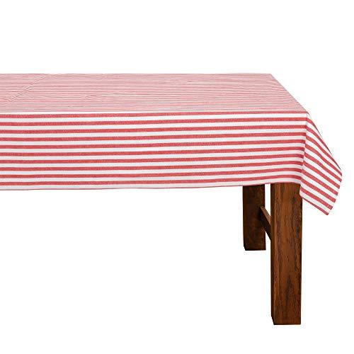 FILU Tischdecke 100 x 140 cm Rot/Weiß gestreift (Farbe und Größe wählbar) - hochwertig gefertigtes Tischtuch aus 100% Baumwolle