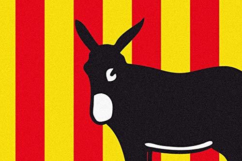 ID Mat Boston Region Catalan, Fibras sintéticas, Rojo Amarillo y Negro, 40 x 60 x 0,5 cm